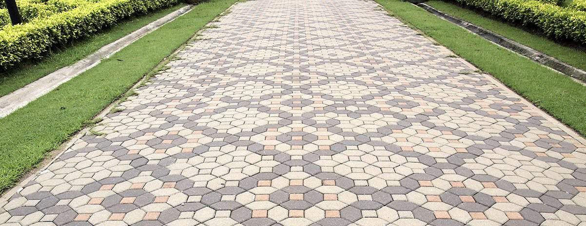 Completed brick walkway